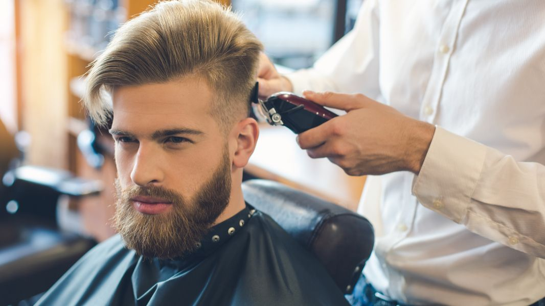 Young Man in Barbershop Hair Care Service