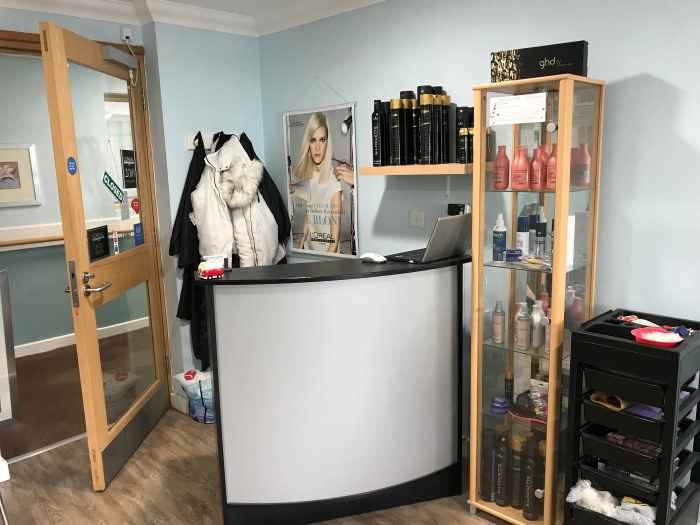 reception desk at Tiffany's Hair Studio